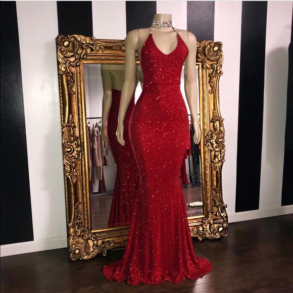 40fa02bb lyniral label Dresses   Prom Red Sparkly Dress   Poshmark